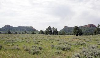 "FILE - In this June 22, 2016 file photo, the ""Bears Ears"" buttes are shown near Blanding, Utah. Interior Secretary Ryan Zinke is recommending that the new Bears Ears National Monument in Utah be reduced in size and says Congress should step in to designate how selected areas of the 1.3 million-acre site are categorized. (AP Photo/Rick Bowmer, File)"