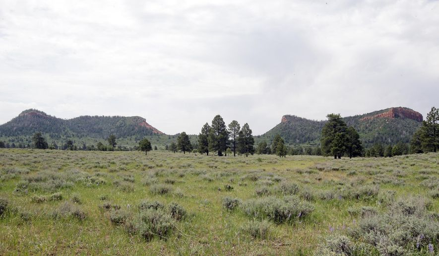 """FILE - In this June 22, 2016 file photo, the """"Bears Ears"""" buttes are shown near Blanding, Utah. Interior Secretary Ryan Zinke is recommending that the new Bears Ears National Monument in Utah be reduced in size and says Congress should step in to designate how selected areas of the 1.3 million-acre site are categorized. (AP Photo/Rick Bowmer, File)"""