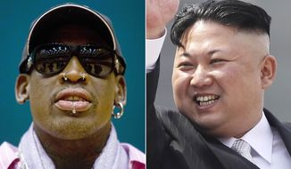 "This combination of file photos shows former NBA basketball star Dennis Rodman in Pyongyang, North Korea on Dec. 20, 2013, left, and North Korean leader Kim Jong Un in Pyongyang on April 15, 2017. North Korea on Tuesday, June 13, 2017, is expecting another visit by Rodman, who has made several trips to the country but has been criticized for insensitive comments and for regaling leader Kim Jong Un with ""Happy Birthday"" in 2014. It would be his first visit to the country since President Donald Trump took office (AP Photos/David Guttenfelder, Wong Maye-E, Files)"