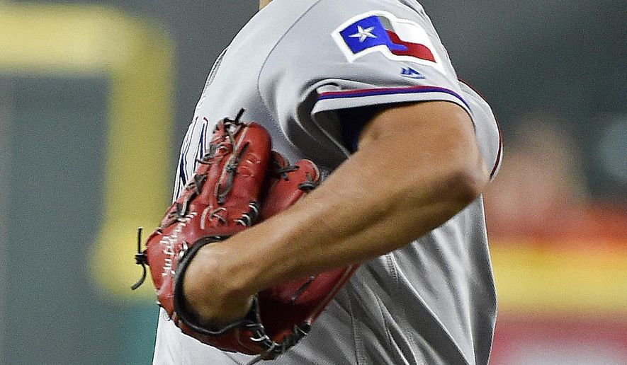 Texas Rangers starting pitcher Yu Darvish delivers during the first inning of a baseball game against the Houston Astros, Monday, June 12, 2017, in Houston. (AP Photo/Eric Christian Smith)