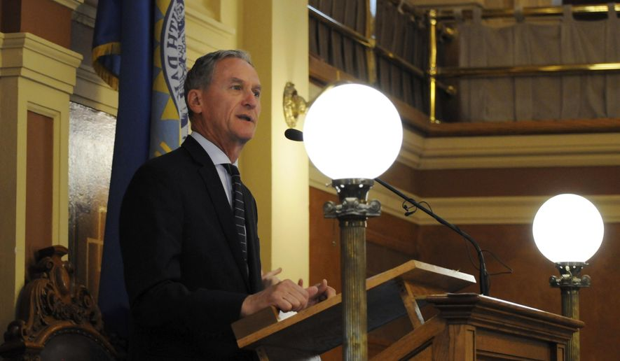 Gov. Dennis Daugaard gives a speech to lawmakers at the state Capitol in Pierre, S.D., Monday, June 12, 2017. The governor urged legislators to approve a bill that would create rules governing the use of lakes on private land for recreation. (AP Photo/James Nord)
