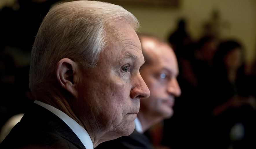 Attorney General Jeff Sessions attends a Cabinet meeting with President Donald Trump, Monday, June 12, 2017, in the Cabinet Room of the White House in Washington. (AP Photo/Andrew Harnik)