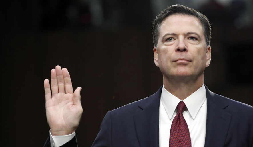 """Lordy, I hope there are tapes,"" fired FBI Director James B. Comey said during testimony Thursday before the Senate Select Committee on Intelligence. (Associated Press)"
