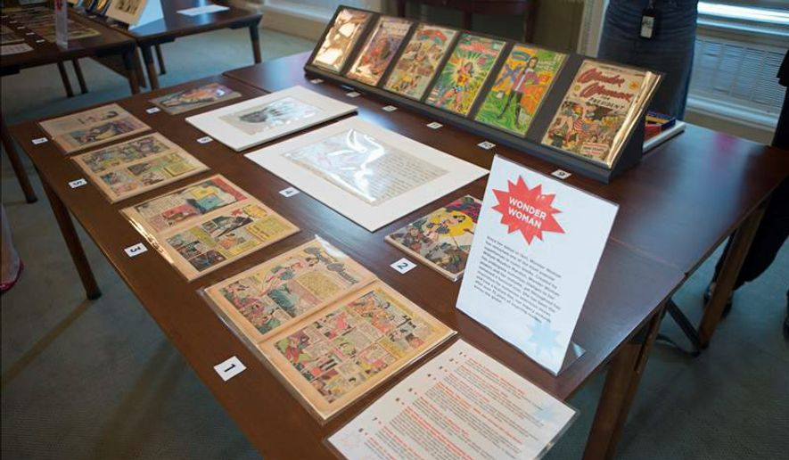 """Long before she was the lead character in the most popular film in the country, Wonder Woman was a comic book. Tales of her exploits, some from the 1930s, are part of the new """"Library of Awesome"""" pop-up exhibit on display at the Library of Congress. (photographs by Shawn Miller)"""