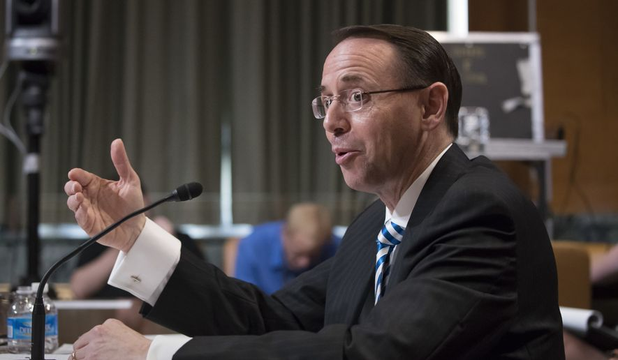Deputy Attorney General Rod Rosenstein testifies on Capitol Hill in Washington, Tuesday, June 13, 2017, before a Senate Appropriations subcommittee. Rosenstein said he's seen no basis for firing Robert Mueller, the former FBI director he appointed as special counsel to oversee an investigation into potential coordination between the Trump presidential campaign and Russia.  (AP Photo/J. Scott Applewhite)
