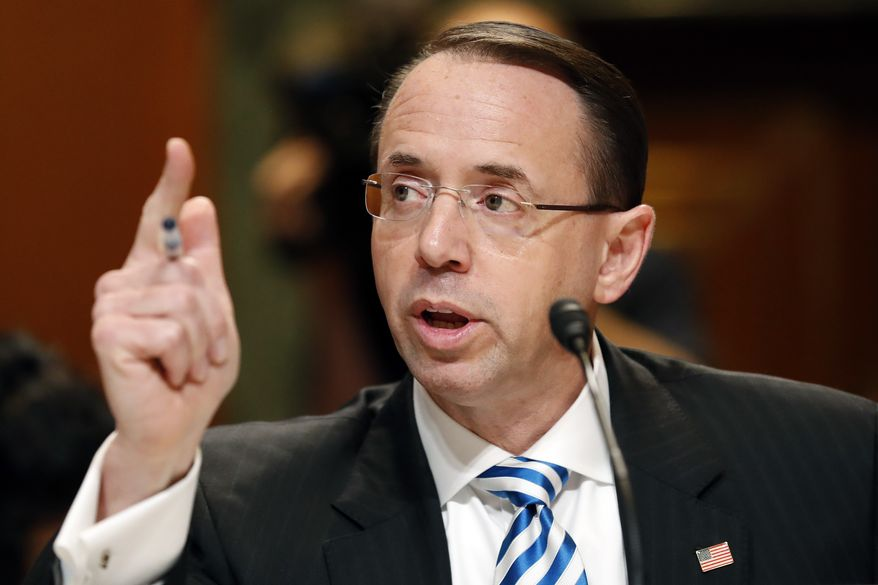 Deputy Attorney General Rod Rosenstein testifies on Capitol Hill in Washington, Tuesday, June 13, 2017, before a Senate Appropriations subcommittee hearing on the Justice Department's fiscal 2018 budget. Rosenstein said he has seen no evidence of good cause to fire the special prosecutor overseeing the Russia investigation. (AP Photo/Alex Brandon) ** FILE **