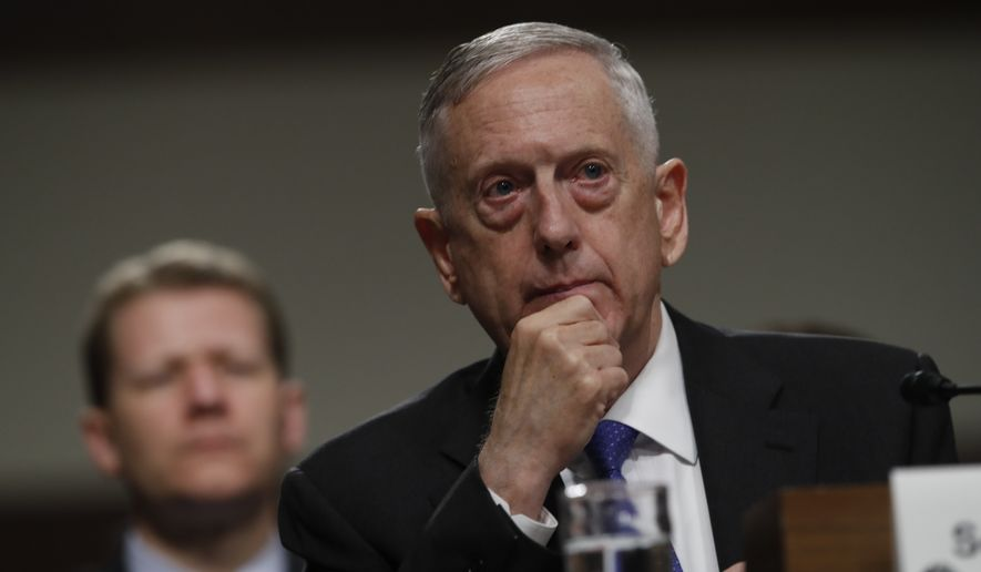 Defense Secretary Jim Mattis listens on Capitol Hill in Washington, Tuesday June 13, 2017, while testifying before the Senate Armed Services Committee hearing on the Pentagon's budget. (AP Photo/Jacquelyn Martin)