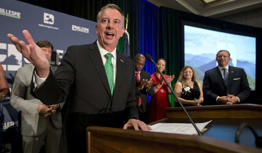 Republican candidate for governor, Ed Gillespie, smiles as he gives a victory speech at his victory party Tuesday, June 13, 2017, in Richmond, Va. Gillespie beat State Sen. Frank Wagner and Corey Stewart in today's primary. (AP Photo/Steve Helber)