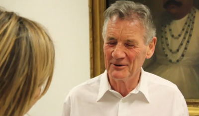Michael Palin is shown here in a screen capture from a videotaped segment for the BBC regarding the donation of his personal papers to the British Library.