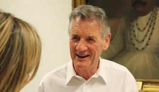 Michael Palin is shown here in a screen capture from a videotaped segment for the BBC regarding the donation of his personal papers to the British Library. (BBC.com) [http://www.bbc.com/news/av/entertainment-arts-40253235/inside-michael-palin-s-monty-python-diaries]