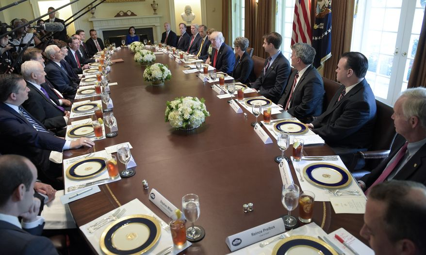 President Donald Trump speaks in the Cabinet Room of the White House in Washington, Tuesday, June 13, 2017, before having lunch with Republican Senators. (AP Photo/Susan Walsh)