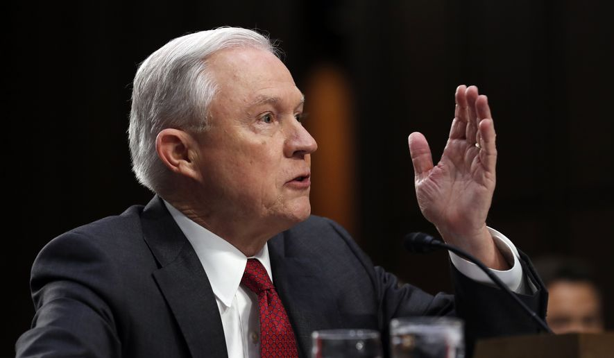 Attorney General Jeff Sessions speaks on Capitol Hill in Washington, Tuesday, June 13, 2017, as he testifies before the Senate Intelligence Committee hearing about his role in the firing of James Comey, his Russian contacts during the campaign and his decision to recuse from an investigation into possible ties between Moscow and associates of President Donald Trump. Sessions heads the Department of Justice. (AP Photo/Alex Brandon) ** FILE **