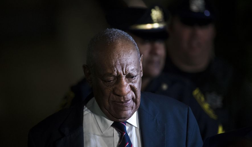 Bill Cosby walks from the Montgomery County Courthouse after jurors in Cosby's sexual assault trial ended first day deliberations without reaching a verdict in Norristown, Pa., Monday, June 12, 2017. (AP Photo/Matt Rourke)