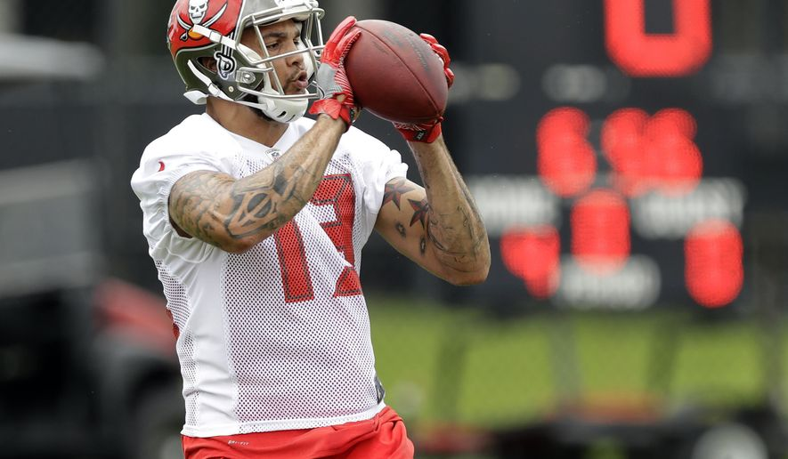 Tampa Bay Buccaneers wide receiver Mike Evans (13) makes a catch during NFL football minicamp Tuesday, June 13, 2017, in Tampa, Fla. (AP Photo/Chris O'Meara)