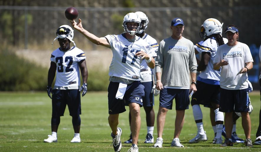 Los Angeles Chargers quarterback Philip Rivers (17) throws a pass during an NFL football practice Tuesday, June 13, 2017, in San Diego. (AP Photo/Denis Poroy)
