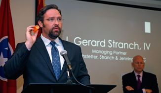 CORRECTS DAY TO TUESDAY, NOT WEDNESDAY - In this photo provided by Nigel Kinrade Photography via The Corporate Image, attorney Gerard Stranch speaks on behalf of three Tennessee prosecutors and the guardian of a baby born dependent on opioids that was filed against several drug makers during a news conference on Tuesday, June 13, 2017, in Johnson City, Tenn. The baby survived after spending 14 days in a neonatal intensive care unit, often crying uncontrollably and was given morphine to wean him from his addiction, the suit says. (Nigel Kinrade Photography/The Corporate Image via AP)