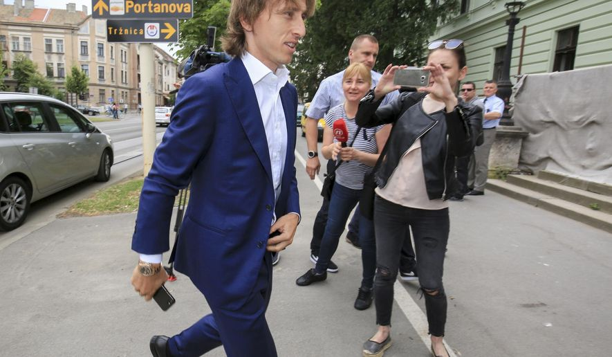 Real Madrid player Luka Modric arrives to the courthouse in Osijek, eastern Croatia, Tuesday, June 13, 2017. Modric testified at the corruption trial for his former agent Zdravko Mamic. (AP Photo)