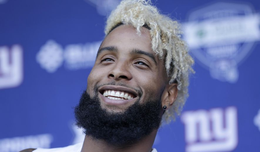 Odell beckham jr makes another freak catch washington times new york giants39 odell beckham jr talks to reporters after nfl m4hsunfo