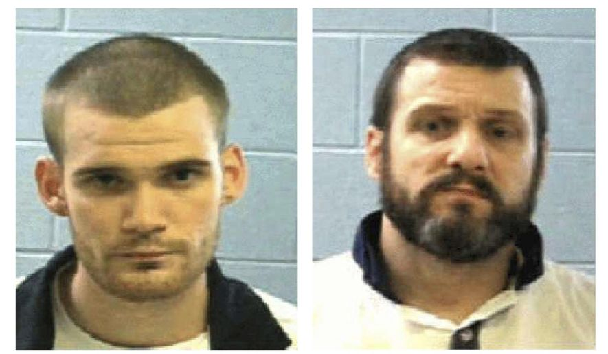 This photo combo shows an undated photo by the Georgia Department of Corrections Tuesday, June 13, 2017, shows inmate Ricky Dubose, left, and Donnie Russell Rowe.  Authorities say Dubose and Rowe escaped after killing two prison guards during a bus transport in Georgia. Both are being sought by law enforcement. (Georgia Department of Law Enforcement via AP)