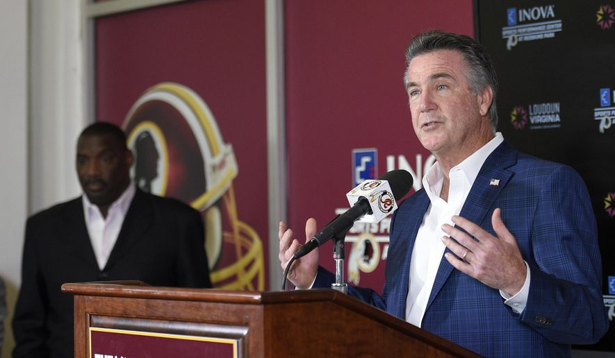 Washington Redskins President Bruce Allen, right, speaks during an NFL football press conference where it was announced that Doug Williams, left, was named Senior Vice President of Player Personnel, Tuesday, June 13, 2017, in Ashburn, Va. (AP Photo/Nick Wass) ** FILE **