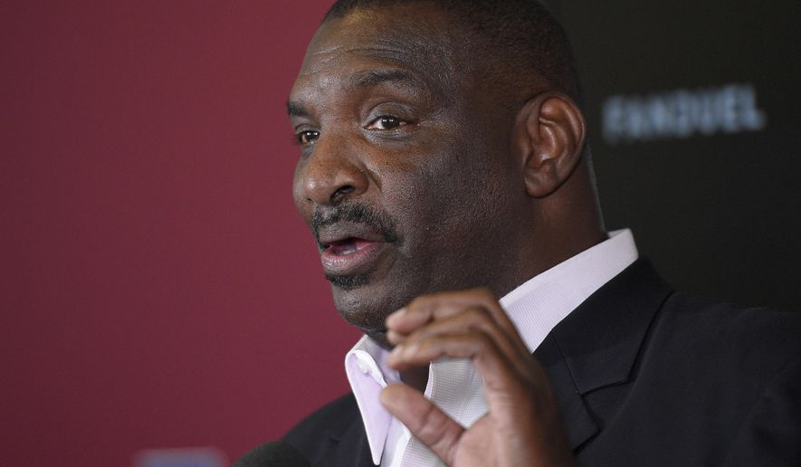 Newly announced Washington Redskins Senior Vice President of Player Personnel, Doug Williams, speaks during an NFL football news conference, Tuesday, June 13, 2017, in Ashburn, Va. (AP Photo/Nick Wass)