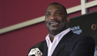 Newly announced Washington Redskins Senior Vice President of Player Personnel, Doug Williams, speaks during an NFL football press conference, Tuesday, June 13, 2017, in Ashburn, Va. (AP Photo/Nick Wass)