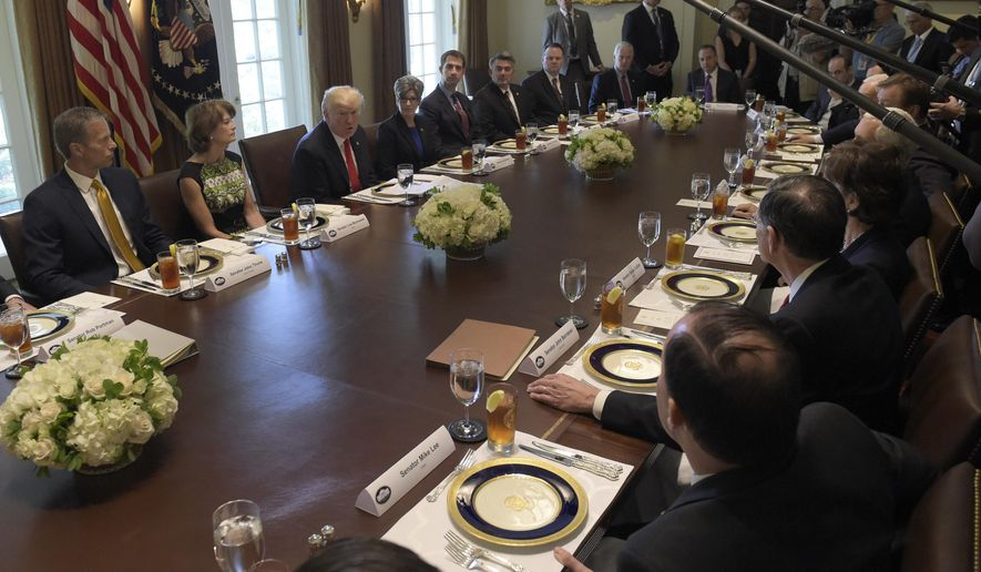 President Donald Trump speaks before having lunch with Republican Senators and White House staffers in the Cabinet Room of the White House in Washington, Tuesday, June 13, 2017. (AP Photo/Susan Walsh)