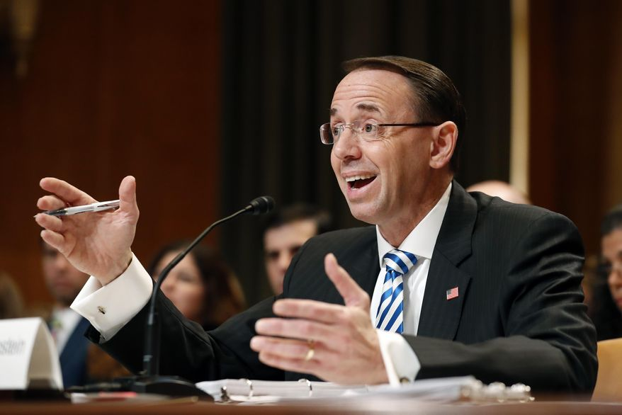 Deputy Attorney General Rod Rosenstein testifies on Capitol Hill in Washington, Tuesday, June 13, 2017, before a Senate Appropriations subcommittee hearing on the Justice Department's fiscal 2018 budget. Rosenstein said he has seen no evidence of good cause to fire the special prosecutor overseeing the Russia investigation. (AP Photo/Alex Brandon)