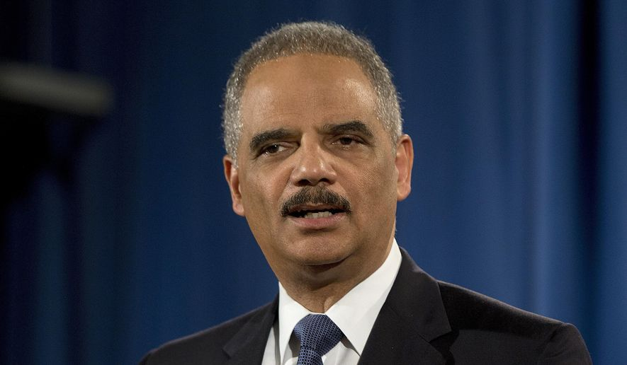 Then-Attorney General Eric Holder speaks at the Justice Department in Washington, in this March 4, 2015, photo. (AP Photo/Carolyn Kaster) ** FILE **