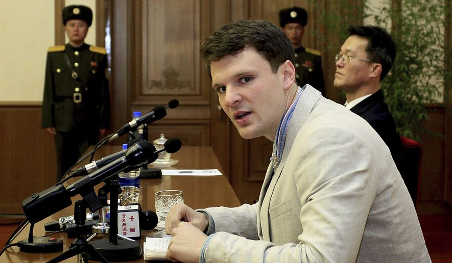 In this Feb. 29, 2016, file photo, American student Otto Warmbier speaks to reporters in Pyongyang, North Korea. Secretary of State Tillerson said Tuesday, June 13, 2017, that  North Korea released the jailed U.S. university student  (AP Photo/Kim Kwang Hyon, File)