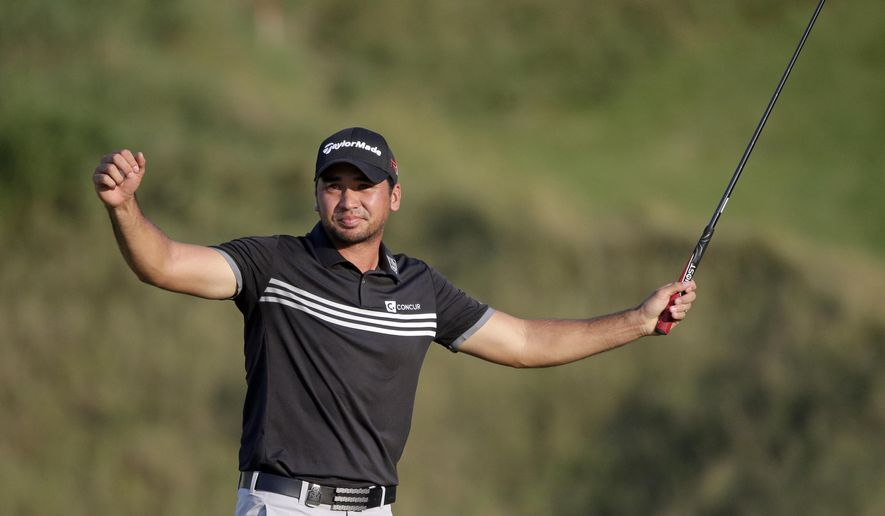 FILE - In this Aug. 16, 2015, file photo, Jason Day, of Australia, celebrates after winning the PGA Championship golf tournament at Whistling Straits in Haven, Wis. Day is back in Wisconsin for the U.S. Open after winning the 2015 PGA Championship at nearby Whistling Straits for his first major title. He has five top-10 finishes in the last six years at the Open, including runner-up at Congressional in 2011 and Merion in 2013. (AP Photo/Jae Hong, File)