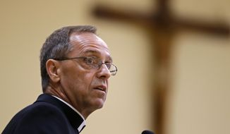 Bishop Charles Thompson speaks after he is introduced as the new archbishop of Indianapolis in Indianapolis, Tuesday, June 13, 2017. Pope Francis made the appointment Tuesday in Rome. Thompson is currently the Bishop of Evansville, Ind. (AP Photo/Michael Conroy)