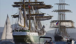 In this Sept. 30, 2013 file photo, German tall ship Alexander Von Humboldt II, left, follows Russian tall ship Krusenstern, right, during a tall ships regatta off the coast of Toulon, southern France. (AP Photo/Claude Paris, File)
