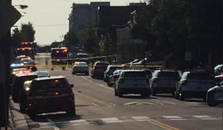 The scene of the aftermath of House Majority Whip Steve Scalise's shooting in Alexandria, Virginia.