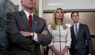 From left, Vice President Mike Pence, Ivanka Trump, the daughter of President Donald Trump, and President Donald Trump's White House Senior Adviser Jared Kushner listen as President Donald Trump speaks in the Diplomatic Room of the White House in Washington, Wednesday, June 14, 2017, to talk about the shooting in Alexandria, Va. where House Majority Whip Steve Scalise of La., and others, where shot during a Congressional baseball practice. (AP Photo/Andrew Harnik)