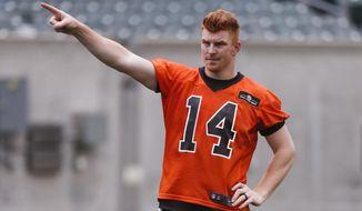 Cincinnati Bengals quarterback Andy Dalton points during an NFL mini-camp practice, Wednesday, June 14, 2017, in Cincinnati. (AP Photo/John Minchillo)