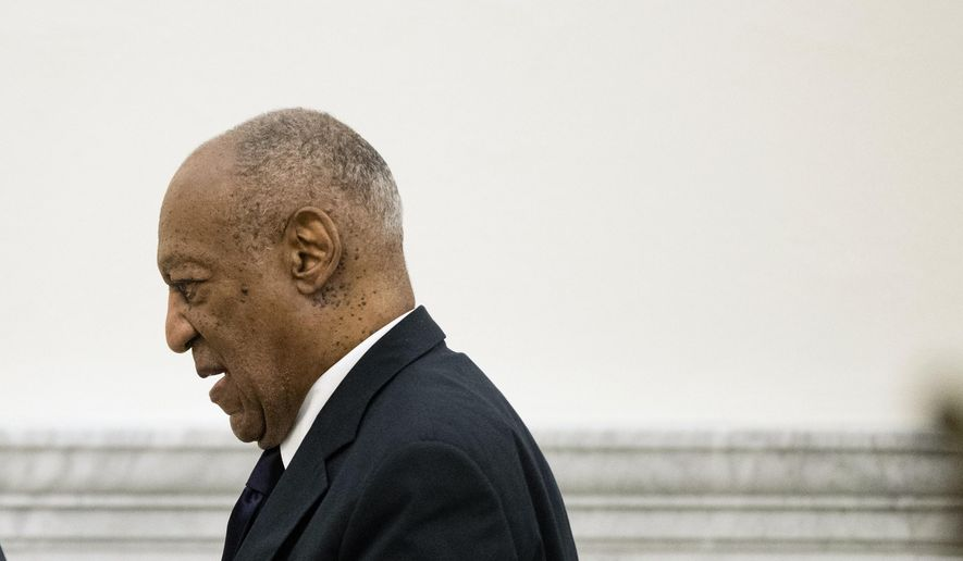 Bill Cosby walks from the courtroom during jury deliberations in his sexual assault trial at the Montgomery County Courthouse in Norristown, Pa., Tuesday, June 13, 2017. (AP Photo/Matt Rourke, Pool)