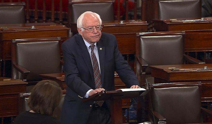 "In this image from Senate Television video, Sen. Bernie Sanders, I-Vt., pauses as he speaks Wednesday, June 14, 2017, on the Senate floor at the Capitol in Washington, about the shooting at the Republican congressional baseball practice. Sanders says the man authorities identified as opening fire on the practice had apparently volunteered on his presidential campaign.  Sanders says in a statement: ""I am sickened by this despicable act."" (Senate Television via AP)"