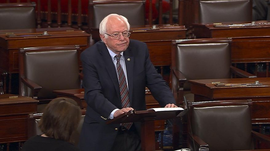 """In this image from Senate Television video, Sen. Bernie Sanders, I-Vt., pauses as he speaks Wednesday, June 14, 2017, on the Senate floor at the Capitol in Washington, about the shooting at the Republican congressional baseball practice. Sanders says the man authorities identified as opening fire on the practice had apparently volunteered on his presidential campaign.  Sanders says in a statement: """"I am sickened by this despicable act."""" (Senate Television via AP)"""