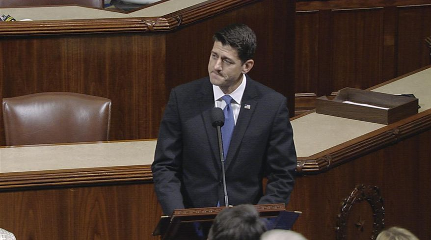 """In this image from House Television video, House Speaker Paul Ryan of Wis., pauses as he speaks Wednesday, June 14, 2017, on the House floor at the Capitol in Washington, about the shooting at the congressional baseball practice. Ryan said, """"We are united in our anguish. An attack on one of us is an attack on all of us.""""(House Television via AP)"""