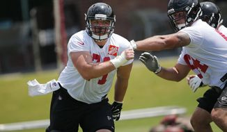 Atlanta Falcons offensive guard Wes Schweitzer (71) works against Sean Haelow (64) during an NFL minicamp football practice Wednesday, June 14, 2017, in Flowery Branch, Ga. Schweitzer is expected to compete for the starting right guard position with Ben Garland (AP Photo/John Bazemore)