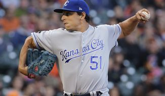 Kansas City Royals pitcher Jason Vargas throws against the San Francisco Giants during the first inning of a baseball game in San Francisco, Tuesday, June 13, 2017. (AP Photo/Jeff Chiu)