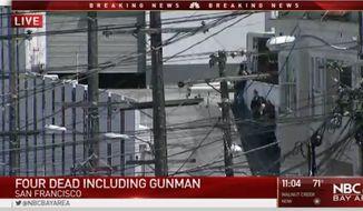 A UPS employee fatally shot three people before killing himself at a San Francisco facility Wednesday. (NBC Bay Area)