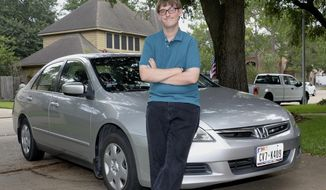 ADVANCE FOR USE MONDAY, JUNE 19, 2017, AND THEREAFTER- In this May 26, 2017, photo, Parker Peddicord stands in front of his car in Katy, Texas. The Safeway Driving school, a franchise with a location in Katy, offered training specific to people with special needs arising from conditions such as attention deficit hyperactivity disorder. Parker enrolled about two years ago when he was 16. (Craig Moseley/Houston Chronicle via AP)
