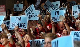 People cheer during an anti abortion rally in the Statehouse in Jefferson City, Mo., Wednesday, June 14, 2017. Missouri Republican Gov. Eric Greitens is leading a Capitol rally to show support for a special session he called on abortion. (David Carson/St. Louis Post-Dispatch via AP) ** FILE **
