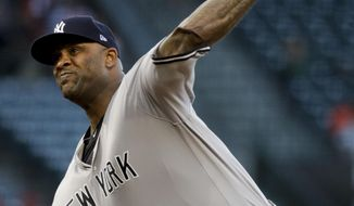 New York Yankees starting pitcher CC Sabathia throws to a Los Angeles Angels batter during the first inning of a baseball game, Tuesday, June 13, 2017, in Anaheim, Calif. (AP Photo/Jae C. Hong)