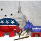 Illustration on resisting being goaded into a like reaction to attacks on the GOP by Alexander Hunter/The Washington Times