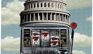 Illustration on stopping the rise of the national debt ceiling by Linas Garsys/The Washington Times