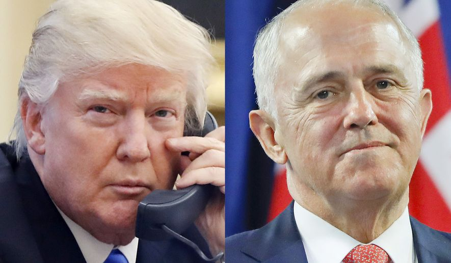 This combination of file photos shows, from left to right: U.S. President Donald Trump on Jan. 28, 2017, and Australian Prime Minister Malcolm Turnbull on Nov. 20, 2016. Turnbull made fun of both Trump and the Australian government's dismal opinion polls during a lighthearted speech on Wednesday night at an annual ball hosted by the Federal Parliamentary Press Gallery. (AP Photo/Alex Brandon, Pablo Martinez Monsivais Files)