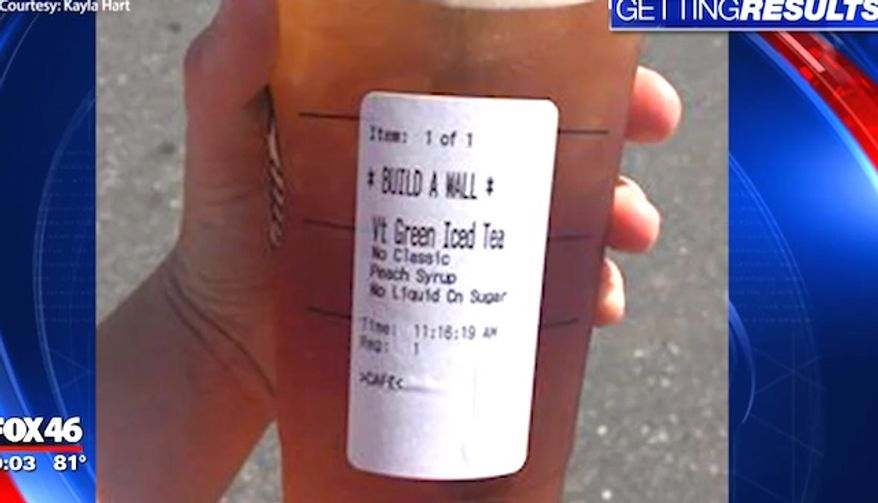 "Starbucks customer Kayla Hart was ridiculed by Starbucks baristas on Wednesday, June 14, 2017, and given a cup labeled ""Build a Wall."" The company issued an apology when contacted by a Fox News affiliate in Charlotte, North Carolina. (Fox 46 Charlotte screenshot)"